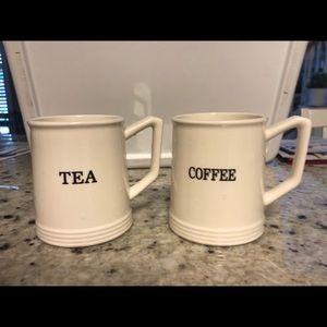 """Set of Two Farmhouse Mugs Cups """"Tea"""" """"Coffee"""""""